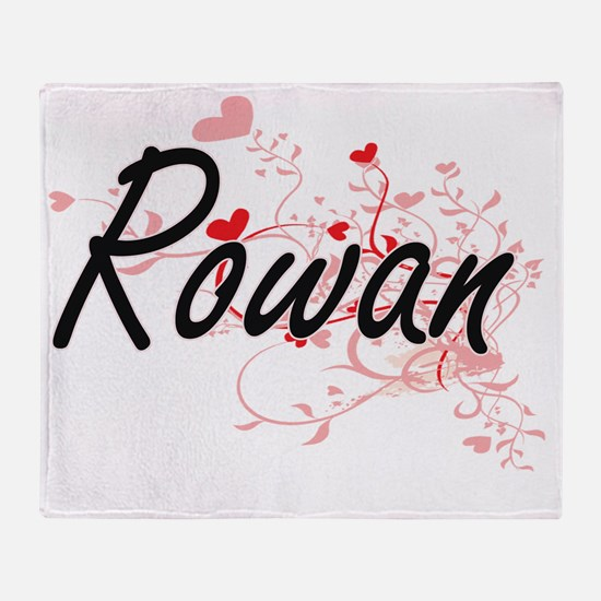 Rowan Artistic Name Design with Hear Throw Blanket