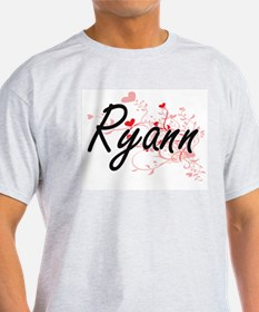 Ryann Artistic Name Design with Hearts T-Shirt