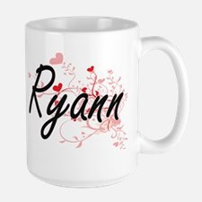 Ryann Artistic Name Design with Hearts Mugs