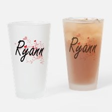 Ryann Artistic Name Design with Hea Drinking Glass