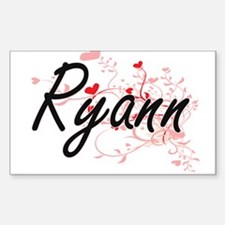 Ryann Artistic Name Design with Hearts Decal