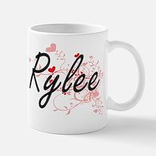 Rylee Artistic Name Design with Hearts Small Small Mug