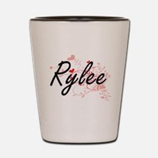 Rylee Artistic Name Design with Hearts Shot Glass