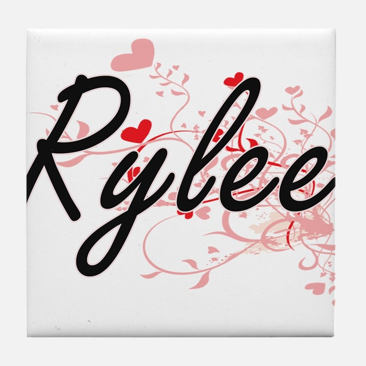 Rylee Artistic Name Design with Heart Tile Coaster