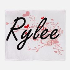 Rylee Artistic Name Design with Hear Throw Blanket