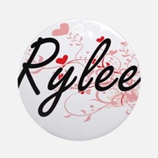 Rylee Artistic Name Design with H Ornament (Round)