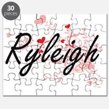 Ryleigh Artistic Name Design with Hearts Puzzle