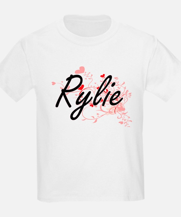 Rylie Artistic Name Design with Hearts T-Shirt
