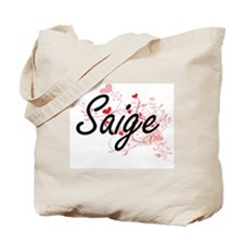 Saige Artistic Name Design with Hearts Tote Bag
