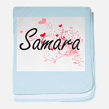 Samara Artistic Name Design with Hear baby blanket