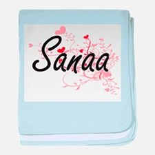 Sanaa Artistic Name Design with Heart baby blanket