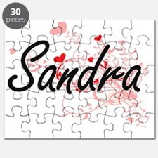 Sandra Artistic Name Design with Hearts Puzzle