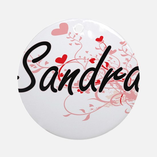 Sandra Artistic Name Design with Ornament (Round)
