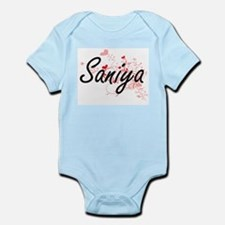 Saniya Artistic Name Design with Hearts Body Suit