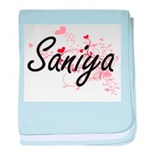 Saniya Artistic Name Design with Hear baby blanket