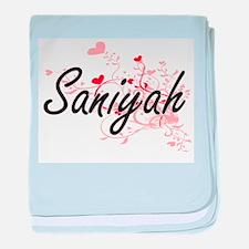 Saniyah Artistic Name Design with Hea baby blanket