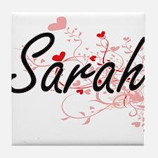 Sarah Artistic Name Design with Heart Tile Coaster