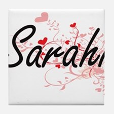 Sarahi Artistic Name Design with Hear Tile Coaster