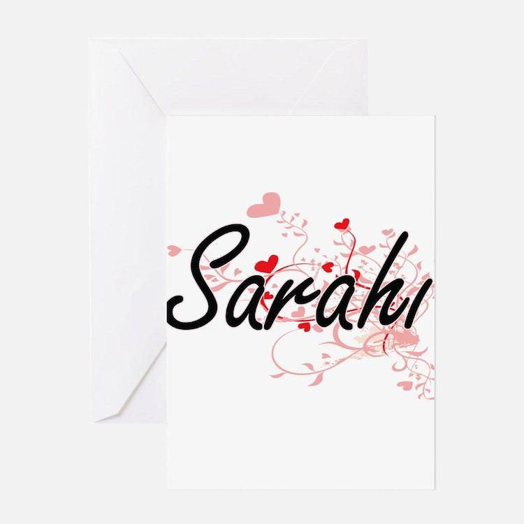 Sarahi Artistic Name Design with He Greeting Cards