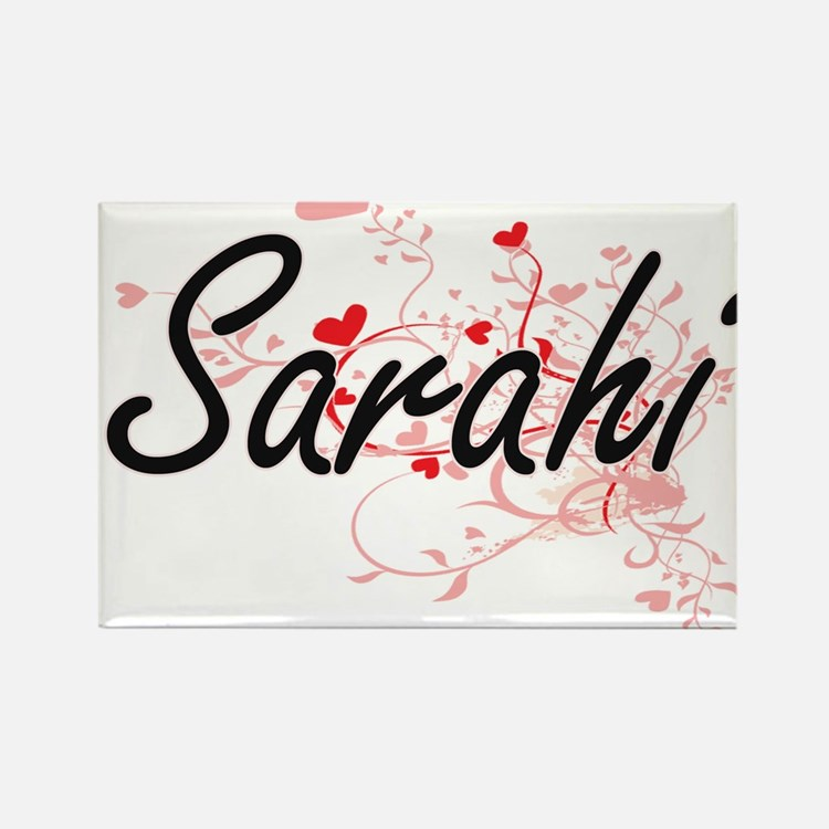 Sarahi Artistic Name Design with Hearts Magnets