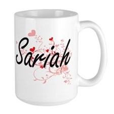 Sariah Artistic Name Design with Hearts Mugs