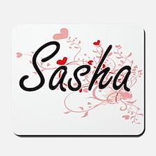 Sasha Artistic Name Design with Hearts Mousepad