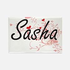 Sasha Artistic Name Design with Hearts Magnets