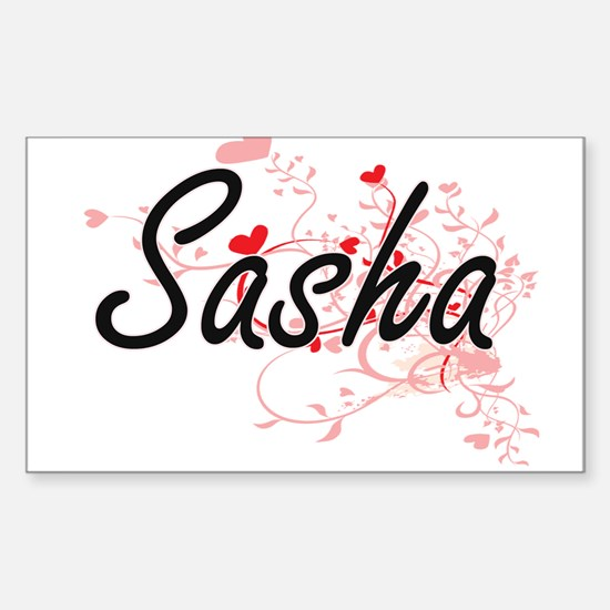 Sasha Artistic Name Design with Hearts Decal