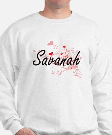 Savanah Artistic Name Design with Heart Sweater