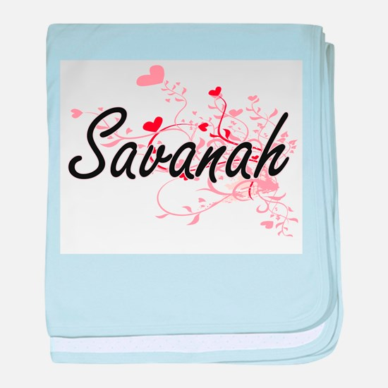 Savanah Artistic Name Design with Hea baby blanket