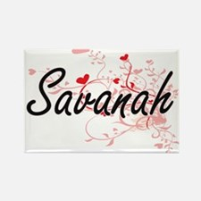 Savanah Artistic Name Design with Hearts Magnets