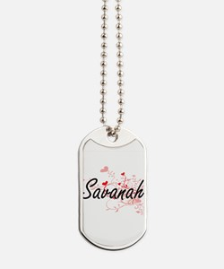 Savanah Artistic Name Design with Hearts Dog Tags