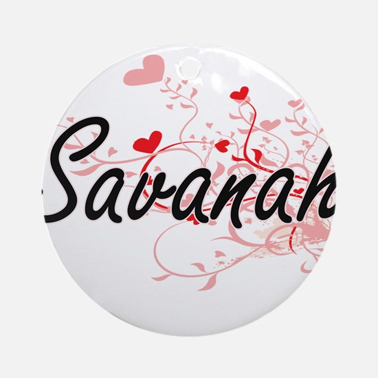 Savanah Artistic Name Design with Ornament (Round)