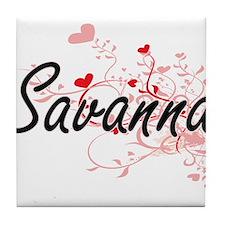 Savanna Artistic Name Design with Hea Tile Coaster