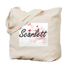 Scarlett Artistic Name Design with Hearts Tote Bag
