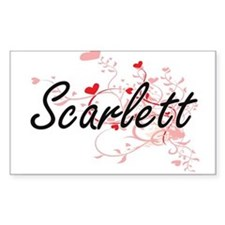 Scarlett Artistic Name Design with Hearts Decal