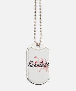 Scarlett Artistic Name Design with Hearts Dog Tags