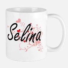 Selina Artistic Name Design with Hearts Mugs