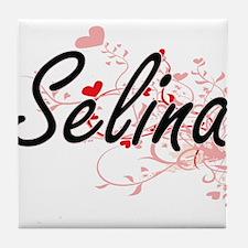 Selina Artistic Name Design with Hear Tile Coaster