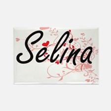 Selina Artistic Name Design with Hearts Magnets