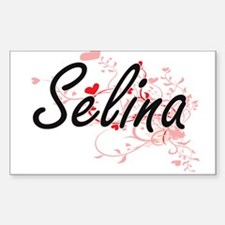 Selina Artistic Name Design with Hearts Decal