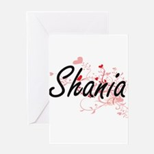 Shania Artistic Name Design with He Greeting Cards