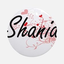 Shania Artistic Name Design with Ornament (Round)