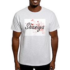 Shaniya Artistic Name Design with Hearts T-Shirt