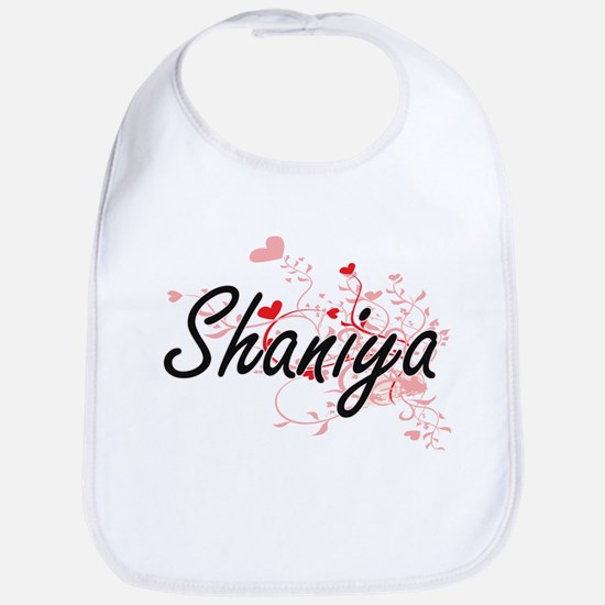 Shaniya Artistic Name Design with Hearts Bib