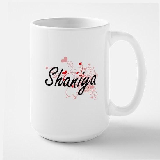 Shaniya Artistic Name Design with Hearts Mugs