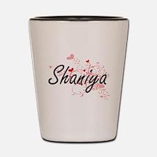 Shaniya Artistic Name Design with Heart Shot Glass