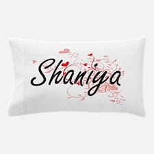 Shaniya Artistic Name Design with Hear Pillow Case