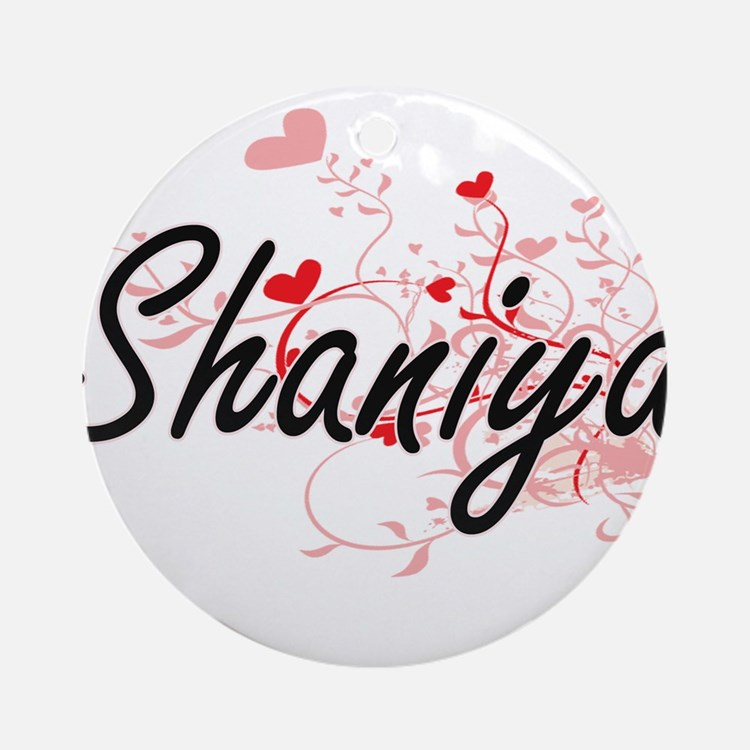 Shaniya Artistic Name Design with Ornament (Round)