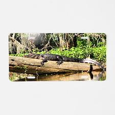 crocodile on log Aluminum License Plate
